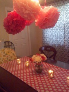 pink decor was so cute at bridal luncheon