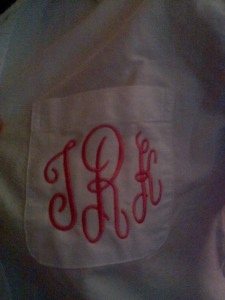 the bride gave the bridal party matching monogrammed shirts to wear as we get ready