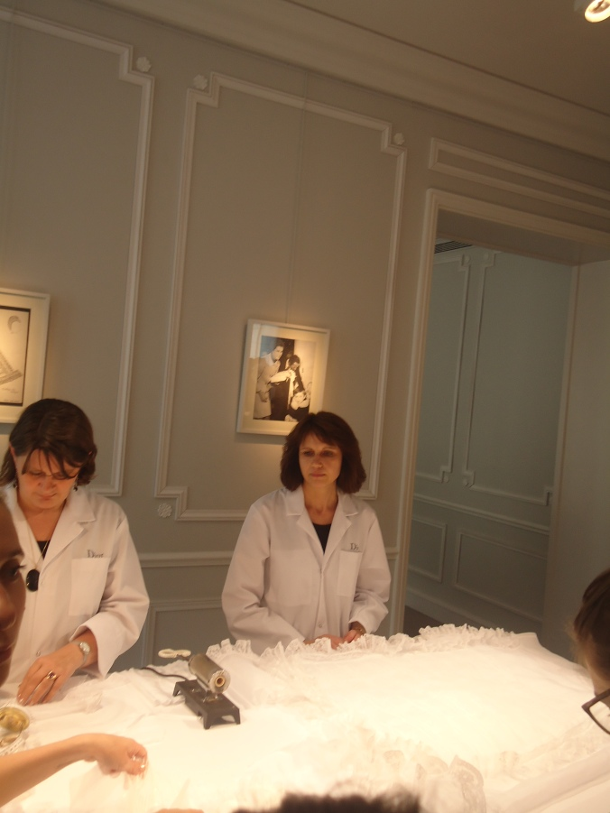 This was the baby section of Dior. They were working on christening gowns from Christian Dior, hahahaha.